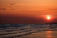 Sun setting over beach on Bald Head Island, North Carolina (thumbnail)