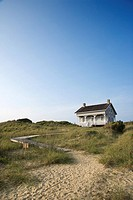Coastal house with pathway to beach on Bald Head Island, North Carolina