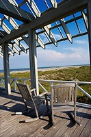 Beachfront deck with trelliswork on Bald Head Island, North Carolina