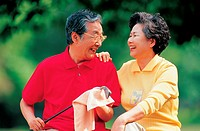 Old Couple Playing Golf,Korean