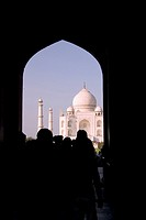The Taj Mahal _ Delhi and Agra _ India through arched gate