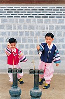 Kids In Korean Costume Are Playing TuhoArrow Throwing,Korea
