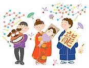 Children celebrating New Year´s Day, Illustration