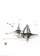 Two sailboats on the sea, ink brush painting, white background, cut out, copy space