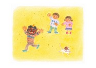 Children throwing beans at man with devil mask, Illustration
