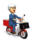 Postman smiling and riding a motorcycle, Illustration, CG, Side View