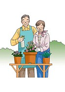 Senior couple enjoying gardening, Illustration, Front View