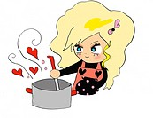 A girl cooking, Illustration, Cartoon, Portrait