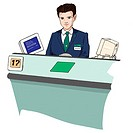 Business man at bank desk, Illustration