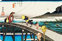 Scenery of Kakegawa in Edo Period, Painting, Woodcut, Japanese Wood Block Print