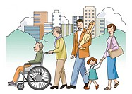 Family walking together, Illustration, Side View