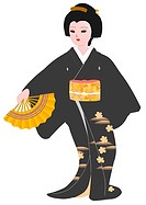 Woman dancing with folding fan in Japanese style clothing, front view, Japan