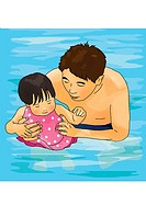 Man holding daughter in swimming pool, front view