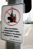 Prohibition sign: no alcohol consumption, Docklands, Harbour Esplanade, Melbourne, Victoria, Australia