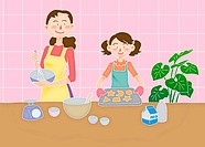 A mother and her daughter cooking together, Illustration