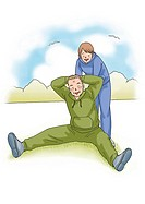 Senior couple excising together, Illustration, Front View