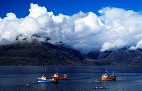 Fishing boats, Cuillins, Isle of Sky, Scotland