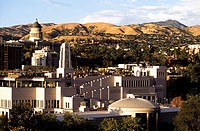 Mormon buildings, Wasatch Mountain Range, Utah, USA