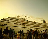 a Huge White_colored Passenger Boat, With a Large Group of People Waiting at the Harbor to Get on It, Rear View, Yokohama City, Kanagawa Prefecture, J...