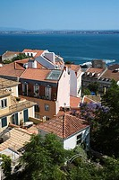 Aerial view of buildings on coast in Lisbon, Portugal