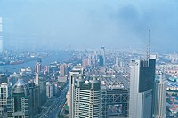 a Large Group of Skyscrapers of Shanghai City From Above, High Angle View, Shanghai, China