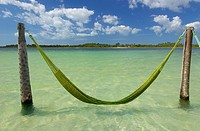 Inviting hammock waiting for you on a warm crystalline lagoon