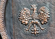 Eagle symbol of Poland on copper plate
