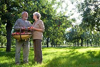 Mature couple smiling at each other in orchard, man with basket of apples, low angle view