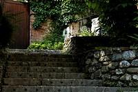 Stone stairway up to a wooden door