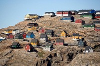 The remote town of Uummannaq is made up of colorful structures.