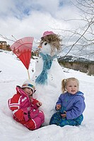Two girls building a snowman.