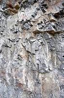 Broken limestone rock face