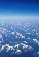 Canada, Alberta, Canadian Rockies mountain range, aerial view