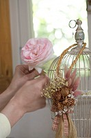 Woman arranging flowers on antique birdcage, close_up of hands