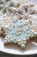Christmas cookies in shape of snow flake, close-up