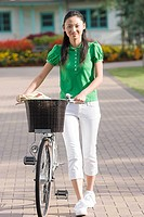 Young woman with bicycle (thumbnail)