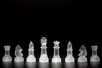 Various chessman with black back