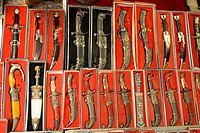 China, Xinjiang, kashgar, traditional Uyghur knifes