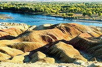 China, Xinjiang, Buerjin River, rocks of 5 colors