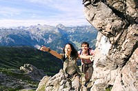 Austria, Salzburger Land, couple hiking