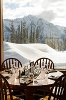 Restaurant with view of snowcapped mountains