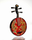 Chinese musical string instrument on white background