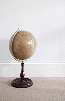 still life of antique globe