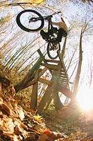 Cyclist riding over jump in forest
