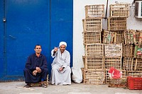 Two workers at the fruit and vegetable depot, Old Sharm, Egypt