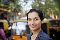 India business woman standing on street portrait