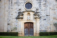 Church detail in Monells. Baix Emporda, Girona province, Catalonia, Spain
