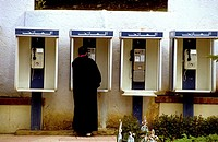Phone booths, Chefchaouen. Morocco