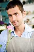 Male florist in his shop holding a pink rose