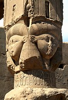 Dandera Egypt Hathor Headed Column Chapel Of Union With Disc